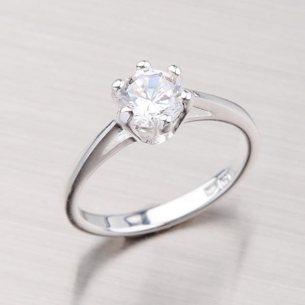 Prsten s bílým zirkonem 11400007