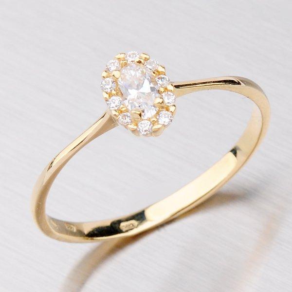 Prsten ze žlutého zlata se zirkony 11-040