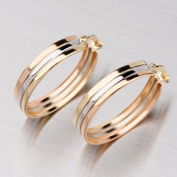 Tříbarevné zlaté kruhy 12-001