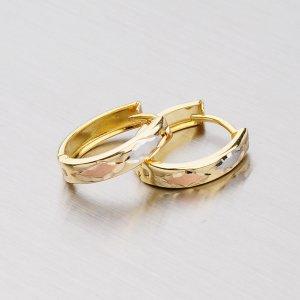 Zlaté náušnice s gravírováním 143-0823