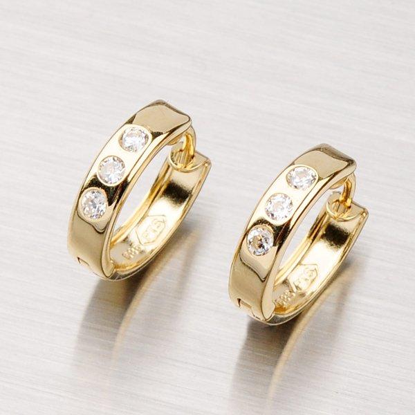 Zlaté náušnice - kruhy se zirkony 13 mm 42-3150