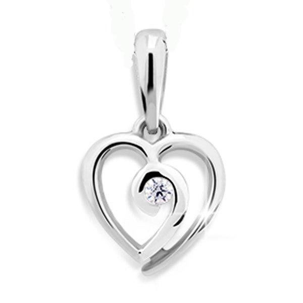 Srdce z bílého zlata se zirkonem DZ1609W