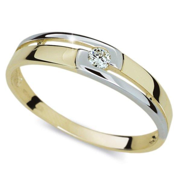 Prsten se zirkonem žluté zlato DZ1793Z