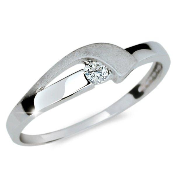 Prsten bílé zlato se zirkonem DZ1779B
