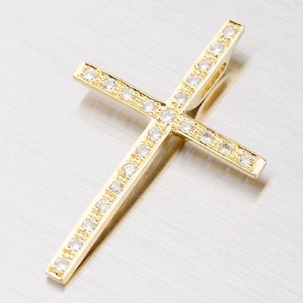 Velký zlatý kříž se zirkony 182P-130017
