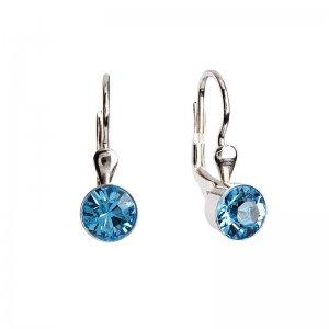Stříbrné náušnice visací s krystaly modré kulaté 31112.3 31112.3-202