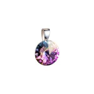 Stříbrný přívěsek s krystaly Swarovski fialový kulatý-rivoli 34112.5 34112.5-001VL