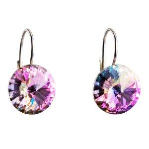 Stříbrné náušnice visací s krystaly Swarovski fialové kulaté 31106.5 31106.5-001VL