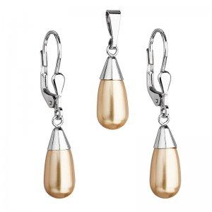 Sada šperků s perlami Swarovski náušnice a přívěsek zlatá perla slza 39119.3 39119.3