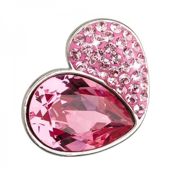 Stříbrný přívěsek s krystaly růžové srdce 34161.3 34161.3