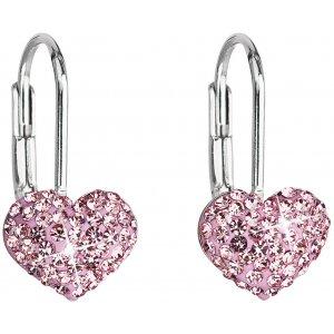 Stříbrné náušnice visací s krystaly Swarovski růžové srdce 31125.3 31125.3 ROSE