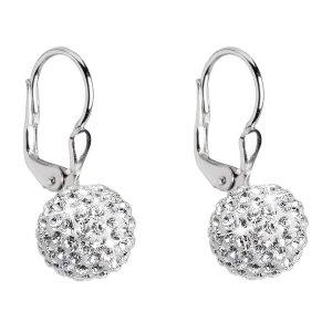 Stříbrné náušnice visací s krystaly Swarovski bílé kuličky 31110.1 31110.1-001