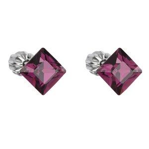 Stříbrné náušnice pecka s krystaly Swarovski fialový čtverec 31065.3 31065.3 AMETHYST