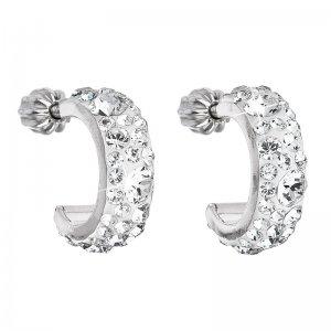 Stříbrné náušnice kruhy s krystaly Swarovski bílé půlkruh 31118.1 krystal 31118.1 KRYSTAL