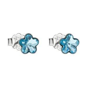 Stříbrné náušnice pecka s krystaly Swarovski modrá kytička 31080.3 31080.3-202