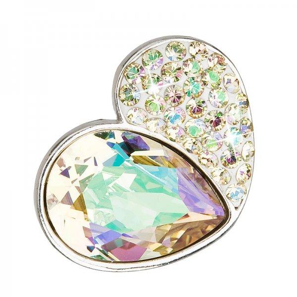 Stříbrný přívěsek s krystaly zeleno-zlaté srdce 34161.3 34161.3