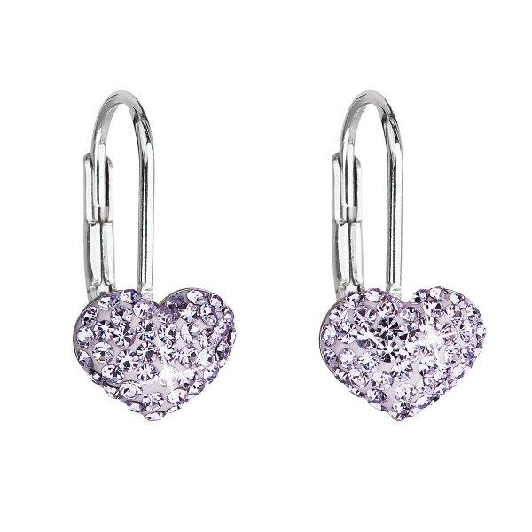 Stříbrné náušnice visací s krystaly Swarovski fialové srdce 31125.3 31125.3 VIOLET
