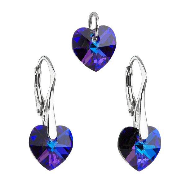 Sada šperků s krystaly Swarovski náušnice a přívěsek modrá srdce 39003.5 heliotrope 39003.5-001HEL