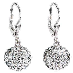 Stříbrné náušnice visací s krystaly Swarovski bílé kulaté 31109.1 31109.1-001