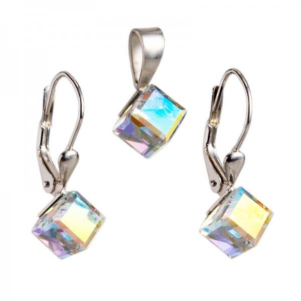 Sada šperků s krystaly Swarovski náušnice a přívěsek AB efekt bílá kostička 39068.2 39068.2-001AB