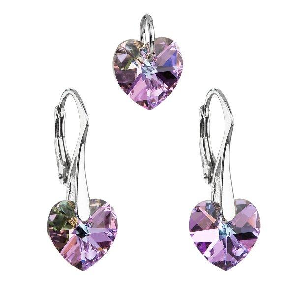 Sada šperků s krystaly Swarovski náušnice a přívěsek fialová srdce 39003.5 39003.5-001VL