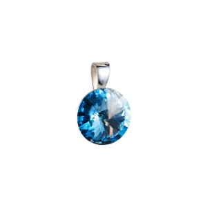 Stříbrný přívěsek s krystaly Swarovski modrý kulatý-rivoli 34112.3 34112.3-202