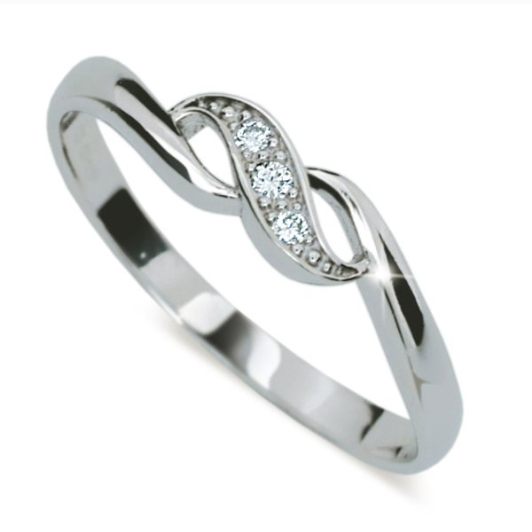 Prsten z bílého zlata se zirkony DZ2001