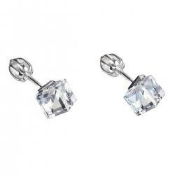 Stříbrné náušnice pecka s krystaly Swarovski bílá kostička 31030.1 31030.1-001
