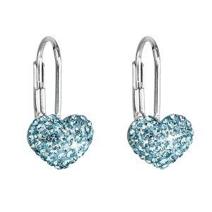 Stříbrné náušnice visací s krystaly Swarovski modré srdce 31125.3 31125.3 AQUA