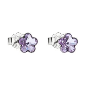 Stříbrné náušnice pecka s krystaly Swarovski fialová kytička 31080.3 31080.3 VIOLET