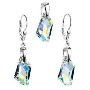 Sada šperků s krystaly Swarovski náušnice a přívěsek AB efekt bílý krystal 39039.2 39039.2-001AB