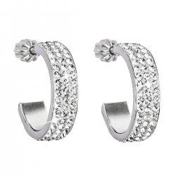 Stříbrné náušnice kruhy s krystaly Swarovski bílý půlkruh 31119.1 31119.1 KRYSTAL