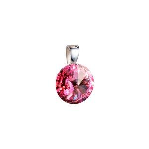 Stříbrný přívěsek s krystaly Swarovski růžový kulatý-rivoli 34112.3 34112.3-223