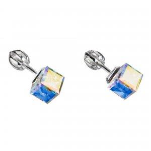 Stříbrné náušnice pecka s krystaly Swarovski AB efekt kostička 31030.2 31030.2-001AB