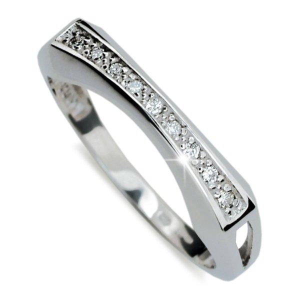 Prsten z bílého zlata se zirkony DZ2007