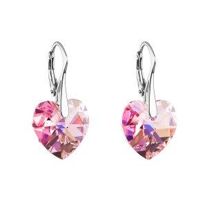 Stříbrné náušnice visací s krystaly Swarovski růžové srdce 31012.4 31012.4