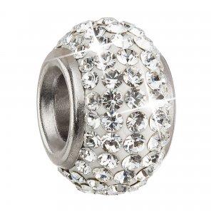 Stříbrný přívěsek s krystaly Preciosa bílý kulatý 34083.1 34083.1-001