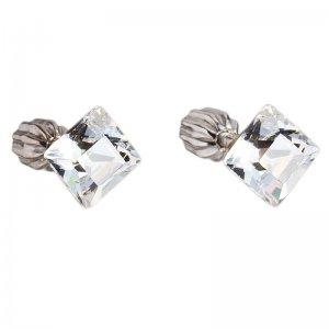 Stříbrné náušnice pecka s krystaly Swarovski bílý čtverec 31065.1 31065.1-001