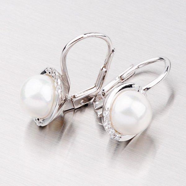 Klasické náušnice s perlou a zirkony YNG2018