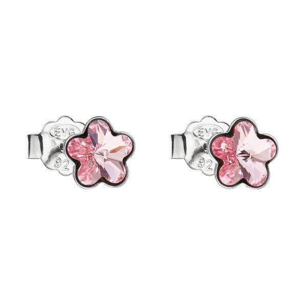 Stříbrné náušnice pecka s krystaly Swarovski růžová kytička 31080.3 31080.3 LT.ROSE