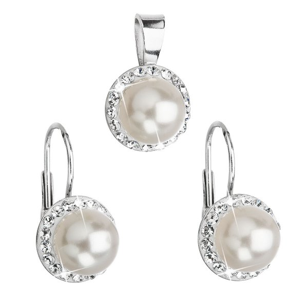Sada šperků s krystaly Swarovski náušnice a přívěsek bílá perla kulaté 39091.1 39091.1 BÍLÁ