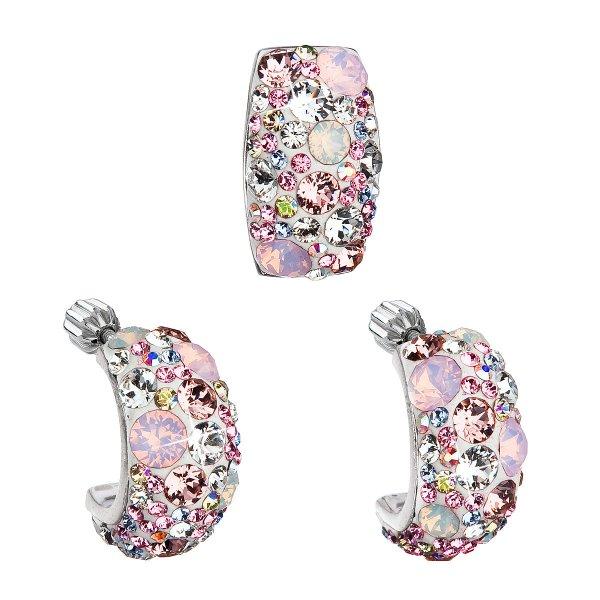 Sada šperků s krystaly Swarovski náušnice a přívěsek růžový obdélník 39116.3 39116.3 MAGIC ROSE