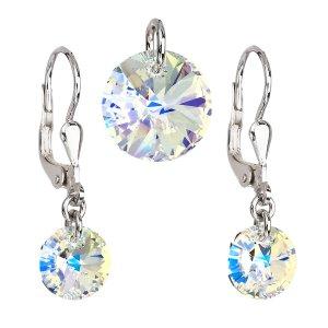 Sada šperků s krystaly Swarovski náušnice a přívěsek AB efekt kulaté 39090.2 39090.2-001AB
