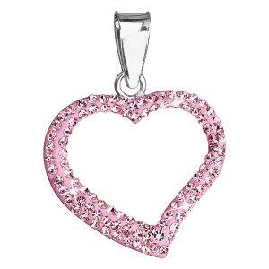 Stříbrný přívěsek s krystaly Swarovski růžové srdce 34093.3 34093.3 ROSE