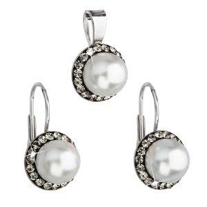 Sada šperků s krystaly Swarovski náušnice a přívěsek šedá perla kulaté 39091.3 39091.3 BLACK DIAMOND