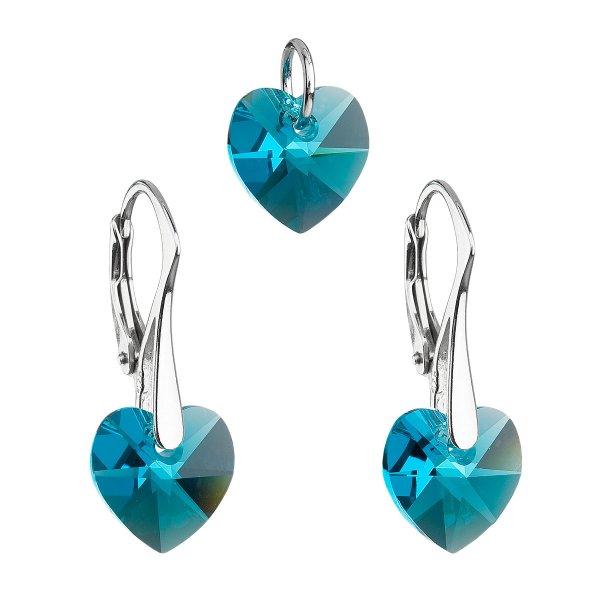 Sada šperků s krystaly Swarovski náušnice a přívěsek modrá srdce 39003.4 39003.4-229AB