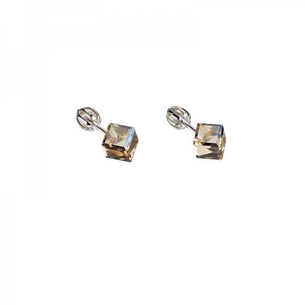 Stříbrné náušnice pecka s krystaly Swarovski zlatá kostička 31030.5 31030.5