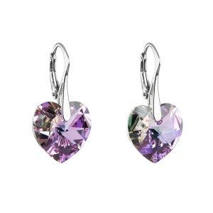 Stříbrné náušnice visací s krystaly Swarovski fialové srdce 31012.5 31012.5-001VL