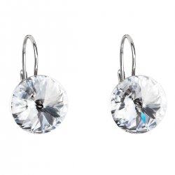 Stříbrné náušnice visací s krystaly Swarovski bílé kulaté 31106.1 31106.1-001