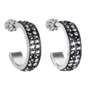 Stříbrné náušnice kruhy s krystaly Swarovski černý půlkruh 31119.5 31119.5 HEMATITE